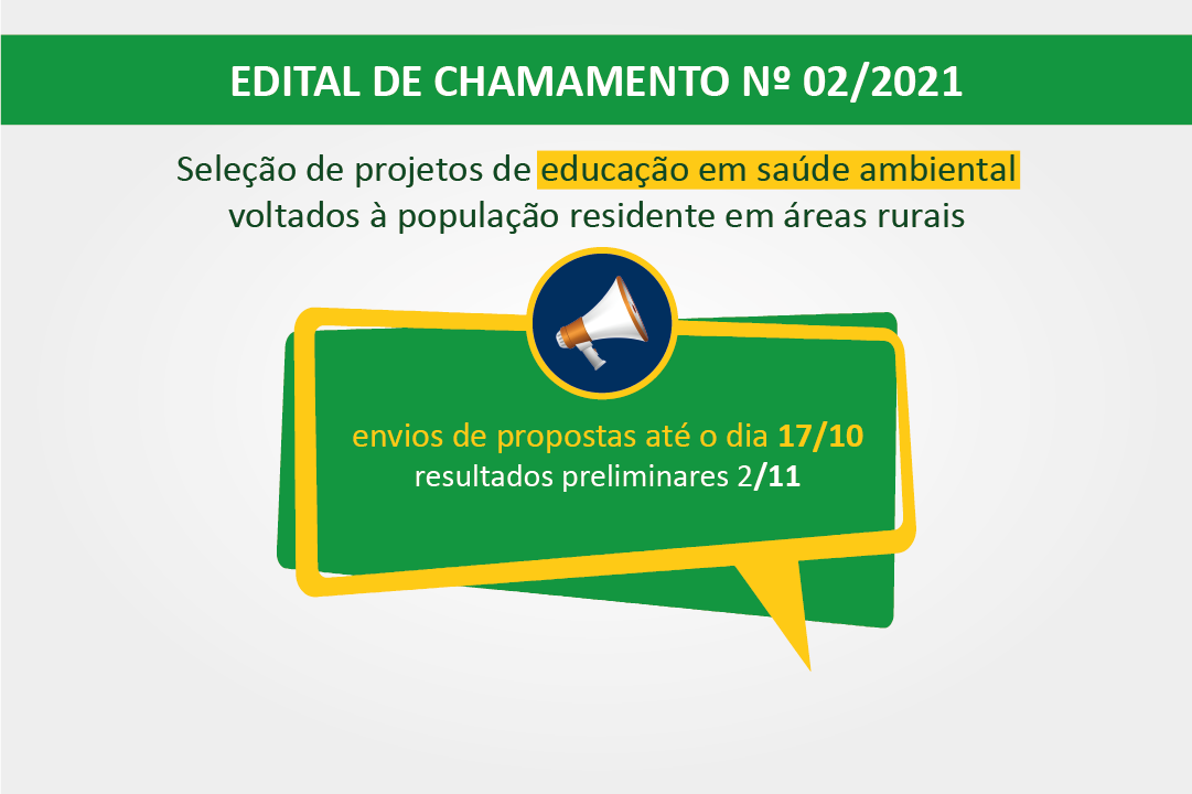 Edital de chamamento para ações de educação em saúde ambiental é publicado pela Funasa