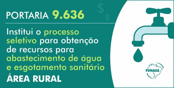 Critérios de seleção para projetos de abastecimento de água, esgotamento sanitário e de melhorias sanitárias domiciliares em áreas rurais são definidos pela Funasa