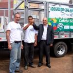 José Roberto (à esq.), Evaldo Cristiano Garcia (ao centro) e o prefeito Marcos Cherem (Foto: Funasa/MG)